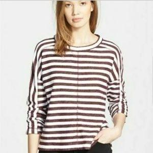 Madewell Striped Slub Pullover Top Maroon White L